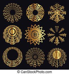 éléments conception, caligraphic