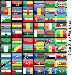 éléments, conception, icônes, drapeaux, de, les, pays, de, afrique.