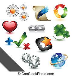 éléments, conception, icônes