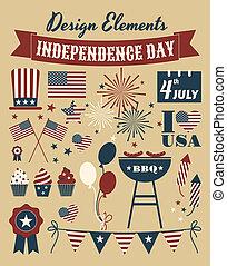 éléments, conception, jour, indépendance