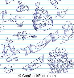 éléments, conception, seamless, fond, mariage