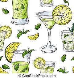 éléments, contour, couleur, modèle, seamless, cocktails., arrière-plan., vecteur, dessiné, blanc, main