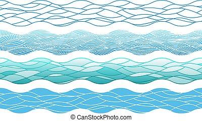 éléments, contour, main, dessiné, frontières, vagues océan, interminable