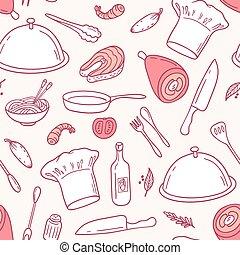éléments, contour, nourriture, modèle, seamless, illustration, main, vector., dessiné