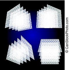 éléments, couleur, translucide, géométrique, résumé, bleu, carrés, ensemble, transparent, illustration, isolé, objets, structures, vecteur, collection, architectural, fond, blanc