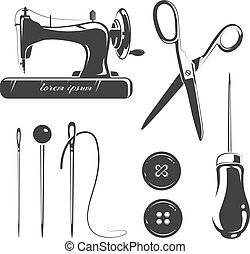 éléments, couture, étiquettes, accessoires, emblèmes, vecteur, tailleur, logo