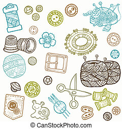 éléments, couture, -, main, vecteur, conception, doodles, ...