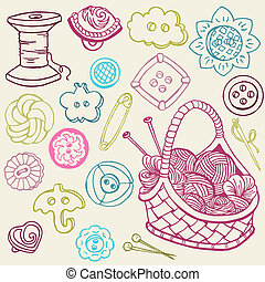éléments, couture, -, main, vecteur, conception, doodles, dessiné, kit
