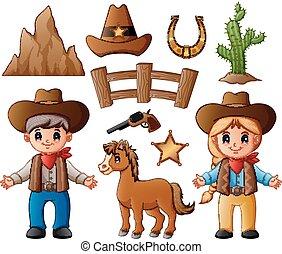éléments, cow-boy, cowgirl, ouest, sauvage, dessin animé