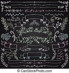 éléments, craie, vecteur, conception, floral, rubans, dessin
