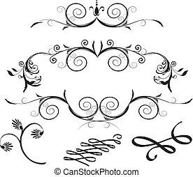 éléments, décoratif, stylique floral