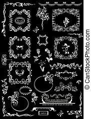 éléments décoratifs, floral, noir, mariage, cadres, conception, blanc