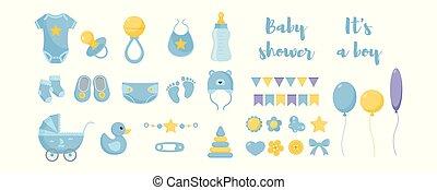 éléments décoratifs, soins, douche, hygiène, santé, bébé, produits, enfantqui commence à marcher, soin, design.