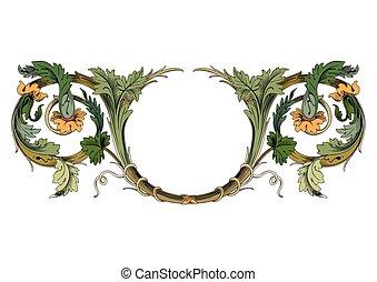 éléments décoratifs, vendange, -, illustration, cadres, baroque, bannière, ruban