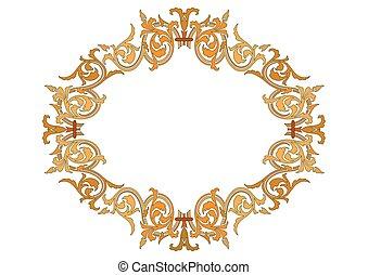 éléments décoratifs, vendange, -, illustration, vecteur, cadres, baroque, bannière, ruban