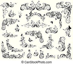 éléments décoratifs, vendange, set., flourishes, noir, retro, conception, blanc