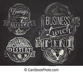 éléments, déjeuner, craie, business