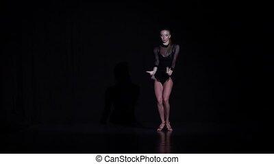 éléments, danse, rumba, mouvement, arrière-plan., lent, fille noire, studio