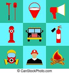 éléments, departament, brûler, set., pompier, icons., équipement, vecteur, illustration, icône