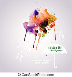 éléments, dessiné, illustration, résumé, fond, main, aquarelle, paper., couleurs, aquarelles, mouillé, album, tache, composition