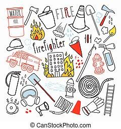 éléments, doodle., urgence, firefighting, set., illustration, main, vecteur, pompier, dessiné, pompier