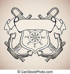 éléments, emblème, club, yacht, étiquette, vecteur, conception
