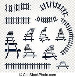 éléments, ensemble, échelle, collection, isolé, rails, sommet, curvy, arrière-plan., vecteur, illustrations, ferroviaire, blanc, directement, vue