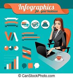 éléments, ensemble, beauté, femme affaires, infographics,...