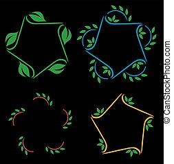 éléments, ensemble, foli, vert, conception