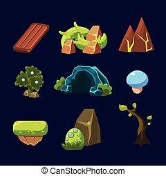éléments, ensemble, game., illustration, vecteur, forêt