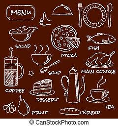 éléments, ensemble, menu, main, dessiné