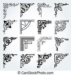 éléments, ensemble, vendange, 2, conception, coins, frontières