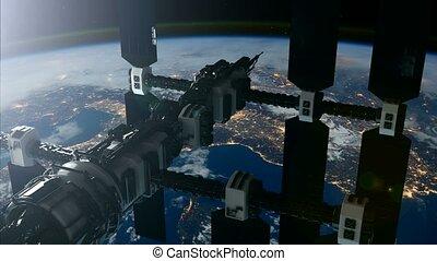 éléments, espace, ceci, image, iss., orbiter, station, meublé, international, earth., nasa