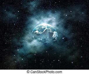 éléments, espace extérieur, ceci, soleil, image, meublé, planète, nasa, levée, champ, la terre, étoile