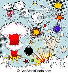 éléments, explosion, livre, vecteur, conception, comique, ...