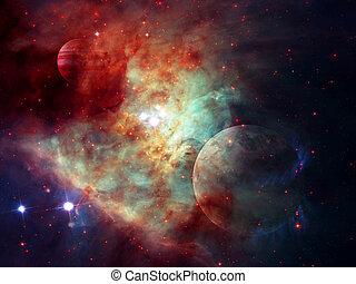 éléments, extérieur, meublé, ceci, image, nébuleuse, space., nasa, planètes