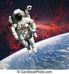 éléments, extérieur, toile fond., espace, ceci, image, meublé, nasa., planète, astronaute, la terre