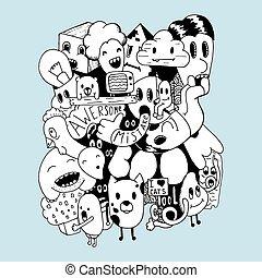 éléments, fait main, illustration, background.t-shirt, vecteur, doodles, sweatshirt, design.