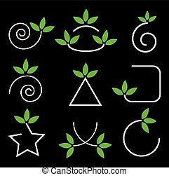 éléments, feuilles, ensemble, vert, conception