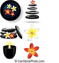 éléments, fleur, -, ston, bougie, spa
