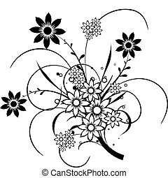 éléments floraux, conception, vecteur