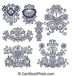 éléments floraux, folklorique, isolé