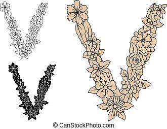 éléments floraux, retro, lettre, v