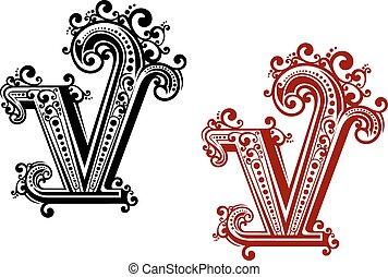 éléments floraux, v, lettre, capital