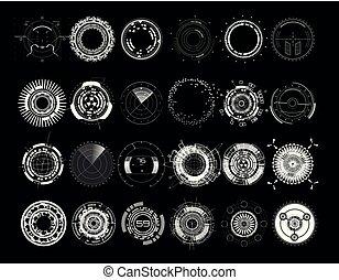 éléments, futuriste, ensemble, cercle, (hud