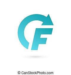 éléments, gabarit, logo, f, icône, lettre, conception, flèche