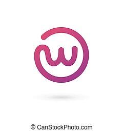 éléments, gabarit, w, conception, lettre, logo, icône