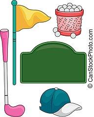 éléments, golf, gosses