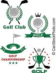 éléments, golf, héraldique, jeu, equipments, emblèmes