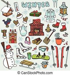 éléments, griffonnage, hiver, icônes